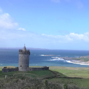Doonagore Castle overlooking the Aran Islands